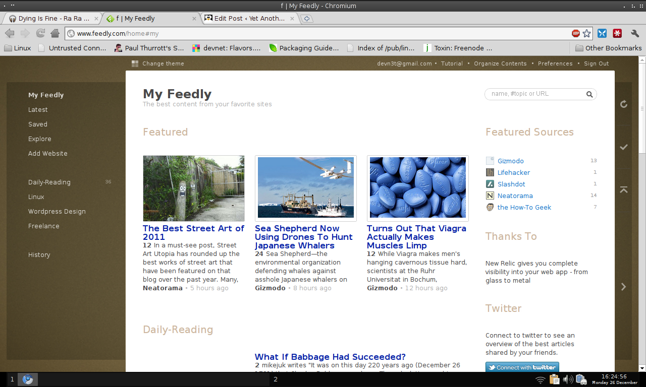 Feedly, Chromium , and Google Reader